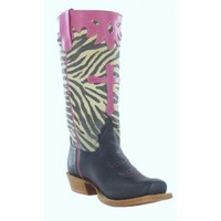 Anderson Bean Cowboy Boots Black Dynatan Zebra Print Top Cross Inlay Kids Cowboy Boots
