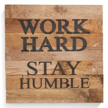 Second Nature by Hand 'Work Hard, Stay Humble' Repurposed Wood Wall Art