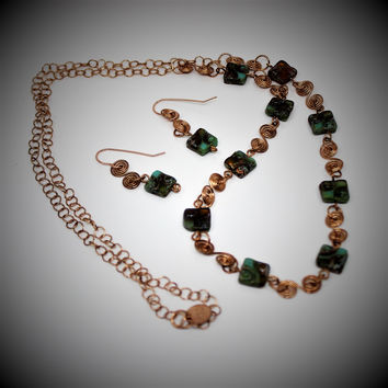 Long Green and Amber Czech Beads and Bronze Wirework Necklace and Earrings
