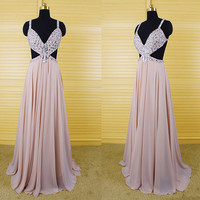 Sexy v-neck long prom dress with cut out ,chiffon rhinestones criss-cross evening dress,party dress,bridesmaid dress DP109