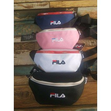FILA Fashion Leather Waist Bag Satchel Single Shoulder Bag