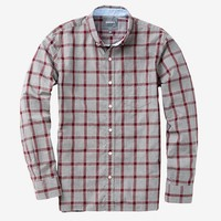 Washed Poplin - Heather Grey & Burgundy Grant Tattersall