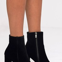 Behati Black Faux Suede Ankle Boots