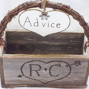 Advice For The Bride And  Groom Rustic Card Box