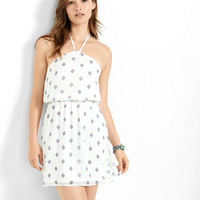 White Diamond Print Crinkle Chiffon Halter Dress from EXPRESS