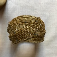 Vintage Boho Glam Golden tiny glass beaded woven wire bracelet unworn with portion of Tag