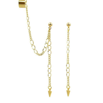 Chain and Arrow Ear Cuff Earrings - Gold