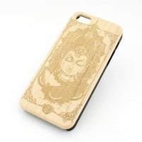 GENUINE WOOD Organic Snap On Case Cover for APPLE IPHONE 5 / 5S - VARADA MUDRA BUDDHA buddhist indian ohm floral