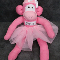 Personalised sock monkey ballerina with tutu and childs name added