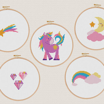 Unicorn Cross stitch Printable pattern set 5 Instant download PDF Colorful Modern Rainbow Star Positive Easy Beginner Animal Nursery Kawaii