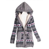 Discount Women Grey Sweater Small House Print Coat @T606grey