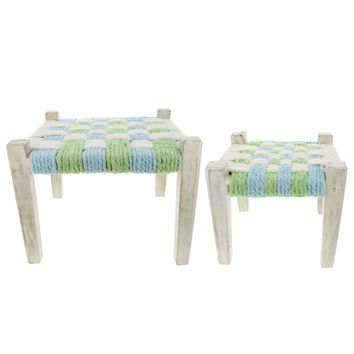 Fiona Walker England Wooden Boy Stool Set of 2