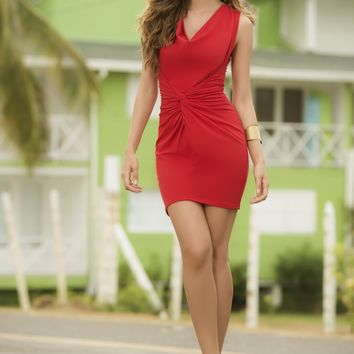 Tropical Red Short Dress