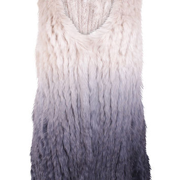 Amaria Cream & Grey Ombre Fur Gilet