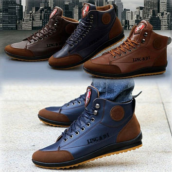 casual shoes 2015 NEW arrival Hot Men's Winter Wool warm Sport Lace up fashion Ankle Boots Shoes free shipping