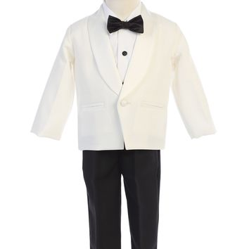 Ivory & Black Contrast 4-pc Tuxedo Boys w. Shawl Collar Jacket 12m-12