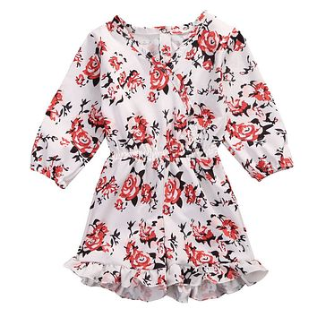 2017 Infant Baby Girl Clothing  Kid Floral Long Sleeve V-Neck Romper Jumpsuit Outfits Sunsuit Clothes