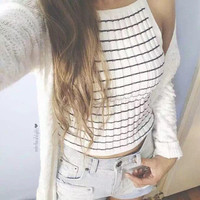 Women's Fashion Sexy Shaped Knit Vest Crop Top Spaghetti Strap T-shirts [4920535044]