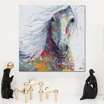 SELFLESSLY Horse Animal Paintings For Living Room Wall Art The Colorful Horse head Canvas Painting Wall Decoration No Frame