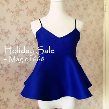 MT01- Women Summer Tops - Royal Blue Halter Top - Summer Tops for Night party - Sexy Tops