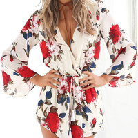 V-neck Red Flowers Printed Long Sleeve Chiffon Rompers