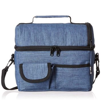 PuTwo Lunch Bag 8L Insulated Lunch Bag Lunch Box Lunch Bags Women Lunch Bag Men Cooler Bag YKK Zip Adjustable Shoulder Strap Lunch Tote Kids Lunch Box Lunch Pail - Denim Blue