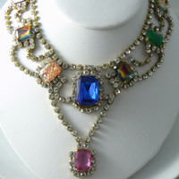 Handcrafted Vintage Czech Glass Necklace Signed Bijoux M.g.