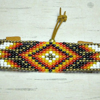 Tribal Bead Loom Bracelet, Diamond Loom Bracelet, Loom Bracelet, Womens Bracelet, Adjustable Bracelet