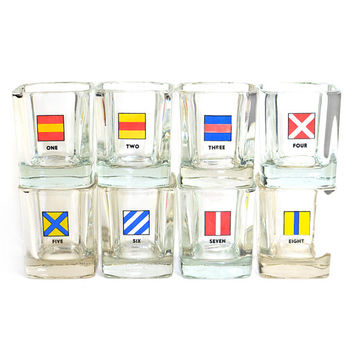 "Nautical Signal Code Flag ""On The Rocks"" Glasses (Set of 8) - Unique Numbered Bar Serving Glass - Vintage Home Kitchen Decor"