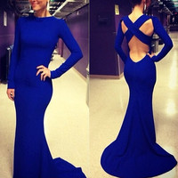 2014 NEW Women's Sexy Backless Long Sleeve Prom Formal Gown Cocktail Long Dress