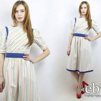 Vintage 80s Rainbow Striped Secretary Day Dress S M Secretary Dress Work Dress 80s Dress White Dress Summer Dress Pride Dress Rainbow Dress