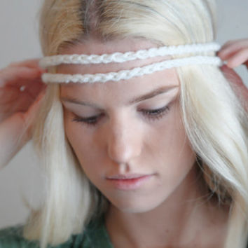 Double Strand Headband Double Braid Hair Band Hippy Style Boho Music Festival Hairwrap in Cream w/ Gold Sparkles
