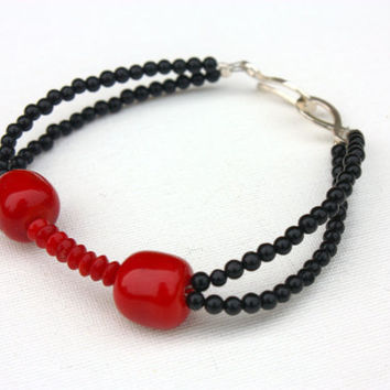 Black bracelet with red coral beads, gemstone jewelry, double strand