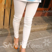 Casual Elastic Waist Candy Color Pockets Thick Skinny Leggings For Women