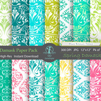 Damask Digital Paper Pack : 'Spring Damask' - for scrapbooking, crafting, invitations, cardmaking - Green Turquoise Aqua Blue Pink Yellow