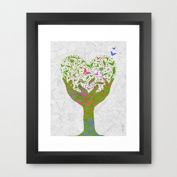 Butterfly Love Tree Framed Artist Signed Print Home Decor Nature Trees Butterflies Rainbows Hearts Leaves Green Namaste Modern Botanical