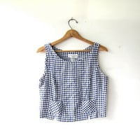 vintage tank top / checkered tank top / basic cropped tank / boxy camisole with pockets / minimalist preppy modern