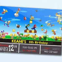 Super Mario Games  Invitation personalized card as a digital file