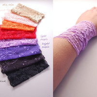 NEW COLORS Pick your color Stretchy Lace Wrist Cuff Fashion accessory Women Teens Tattoo Cover Up Cuff