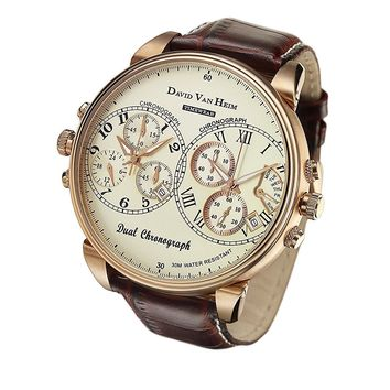 David Van Heim Dual Swiss Quartz Chronograph Men's Watch collection VH-41