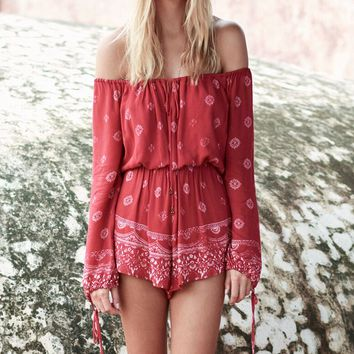 the jetset diaries - fuego romper in red robe print