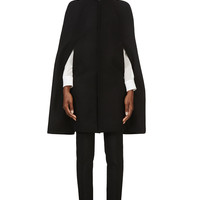 Saint Laurent Black Wool And Silk Buckled Cape
