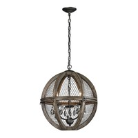 140-007 Renaissance Invention Wood And Wire Chandelier - Small
