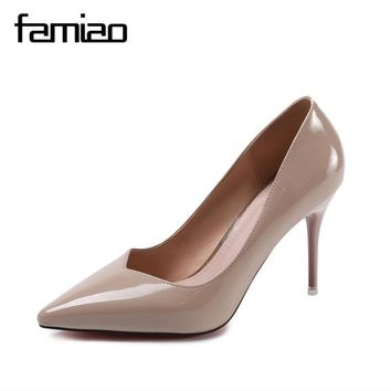 FAMIAO zapatos mujer 2018 New Fashion high heels women pumps thin heel classic white red nede beige sexy prom wedding shoes