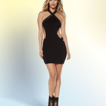 Roma 3348 Halter Dress with Cutaway Sides