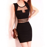 Fashioncity Sexy Low-cut Backless Mesh See-through Close-fitting Slim Fit Dress Skirt = 1651540228