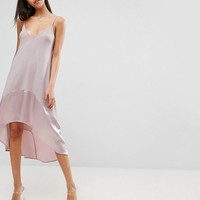 ASOS Trapeze Cami With Satin Hem Midi Dress at asos.com