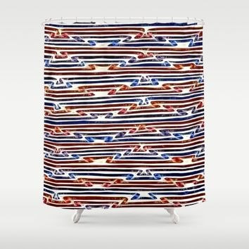 Energetic, electrifying abstract line art pattern Shower Curtain by Peter Reiss