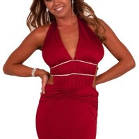 V-Neck Halter Fitted Open Back Cut Out Rhinestone Clubwear Party Mini Dress