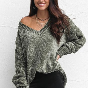 Down Time Oversized Olive Chenille V-Neck Sweater